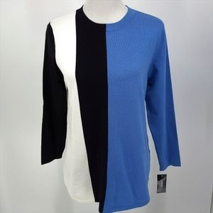 New Alfani Medium Sweater Blue Black Ivory 3/4 Slv